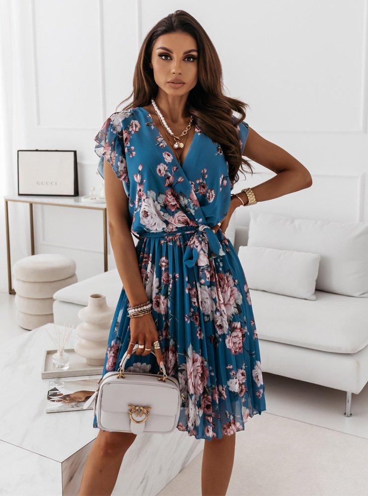 Niebieska kwiecista sukienka z...
