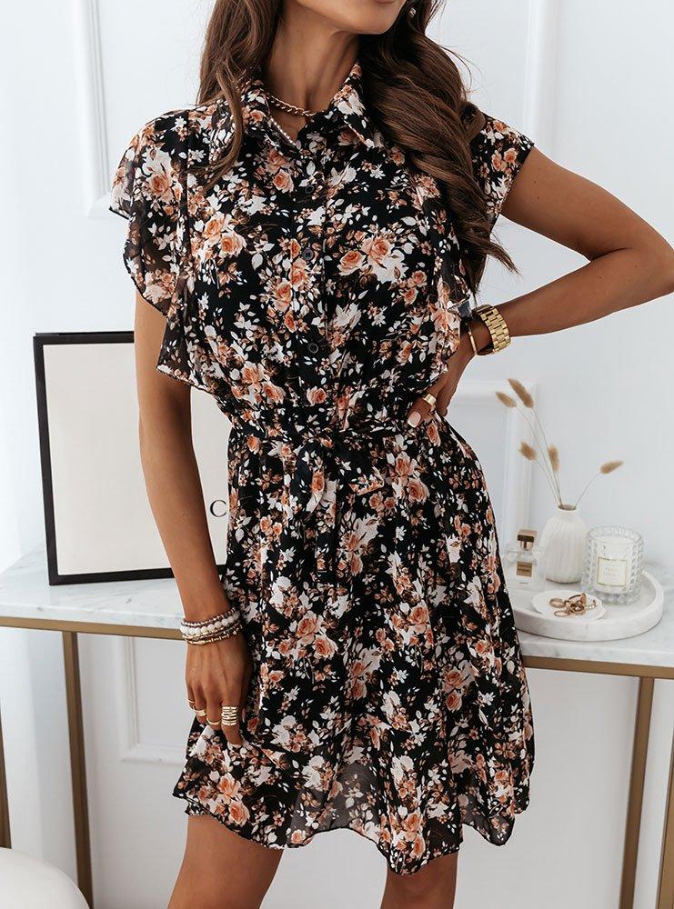Czarna sukienka w kwiaty Hanii