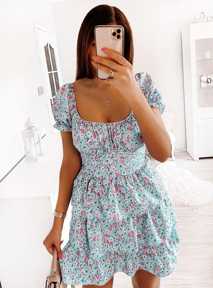 Sukienka w kwiatki z falbankami Timbo...