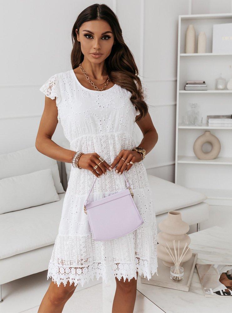 Biała ażurkowa sukienka z koronką STENA
