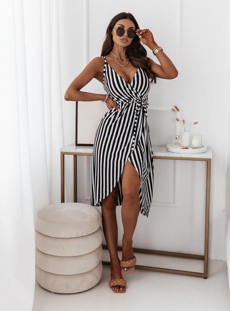 Przekładana sukienka w paski Zira