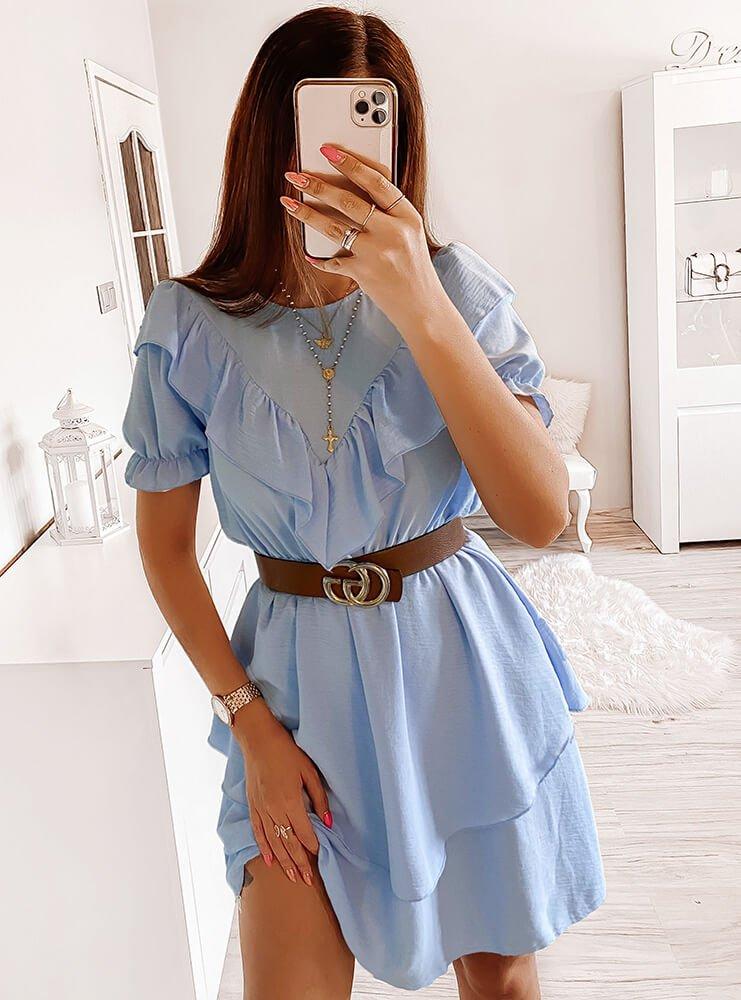 Błękitna sukienka z falbanką Alianna