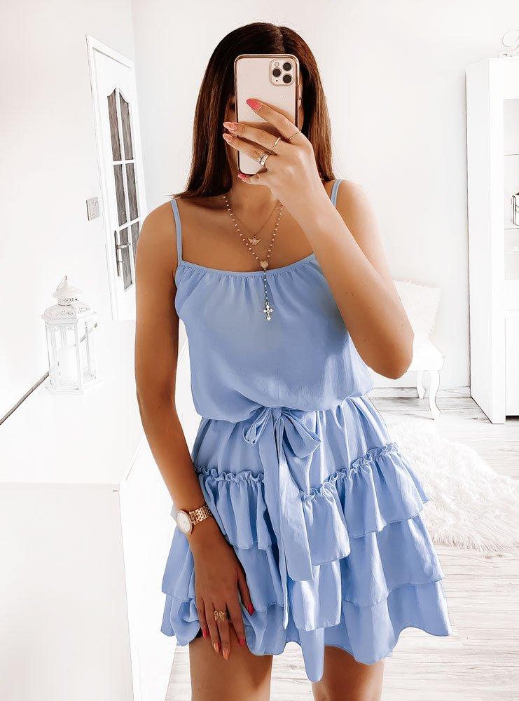 Błękitna sukienka na ramiączkach z falbankami Sanay