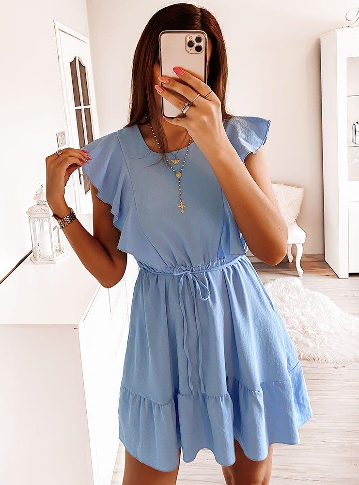 Niebieska sukienka z falbanką Kingi