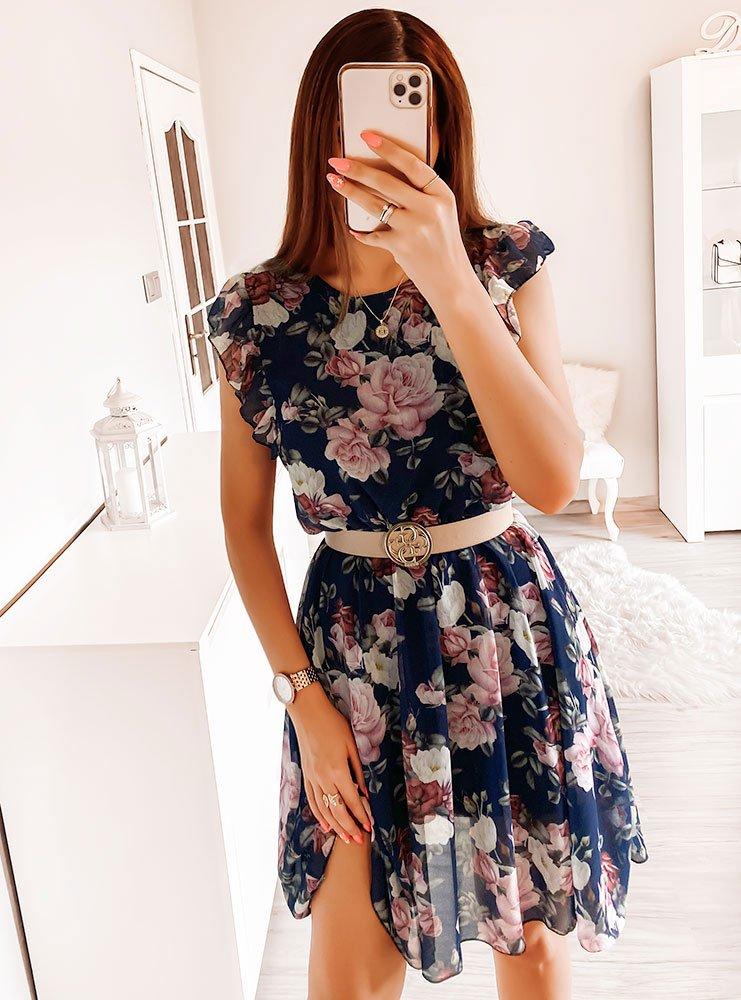 Granatowa sukienka w kwiaty Klaudyna