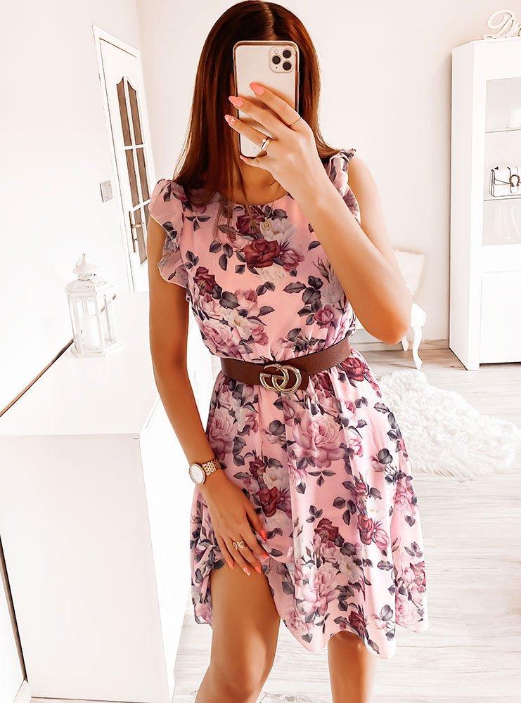 Pudrowa sukienka w kwiaty Klaudyna