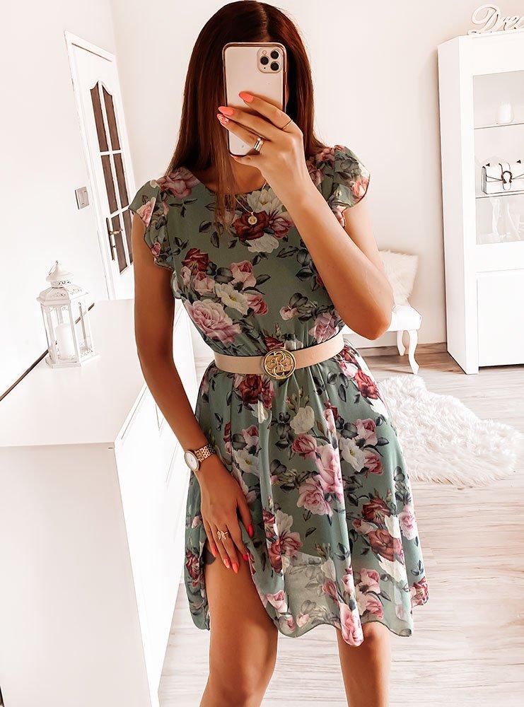 Sukienka w kwiaty Klaudyna - khaki