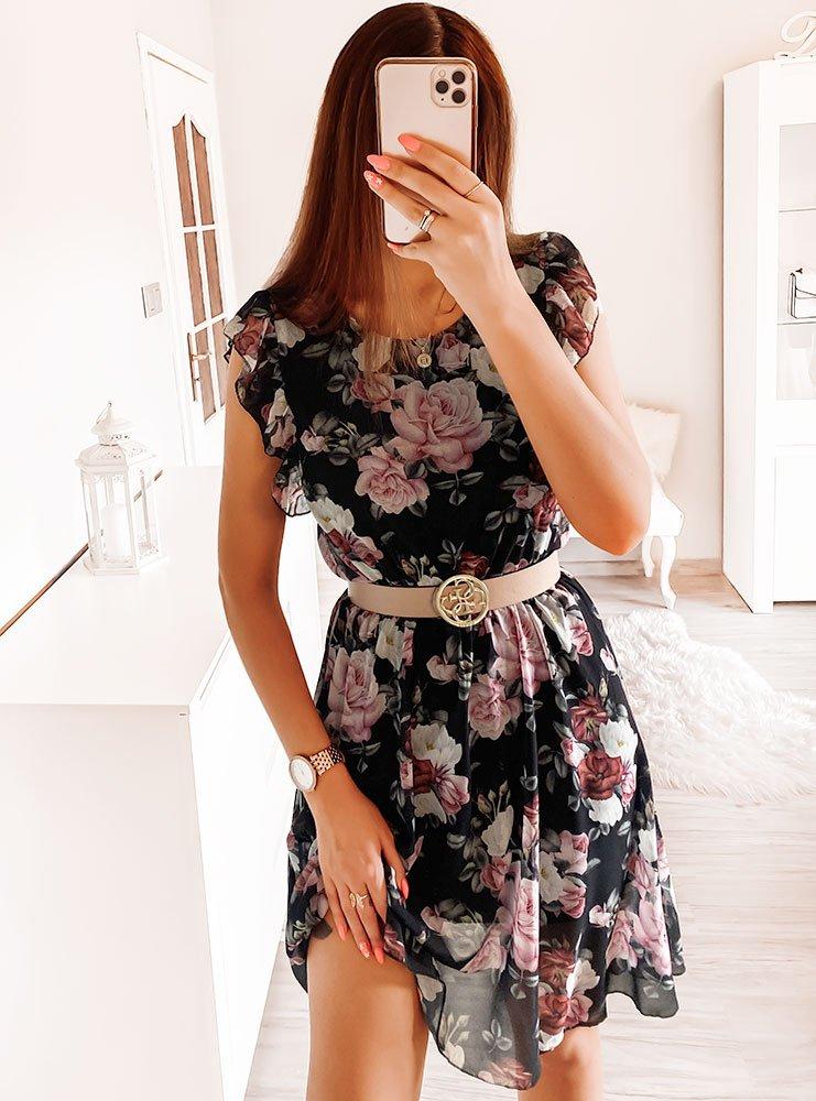 Czarna sukienka w kwiaty Klaudyna
