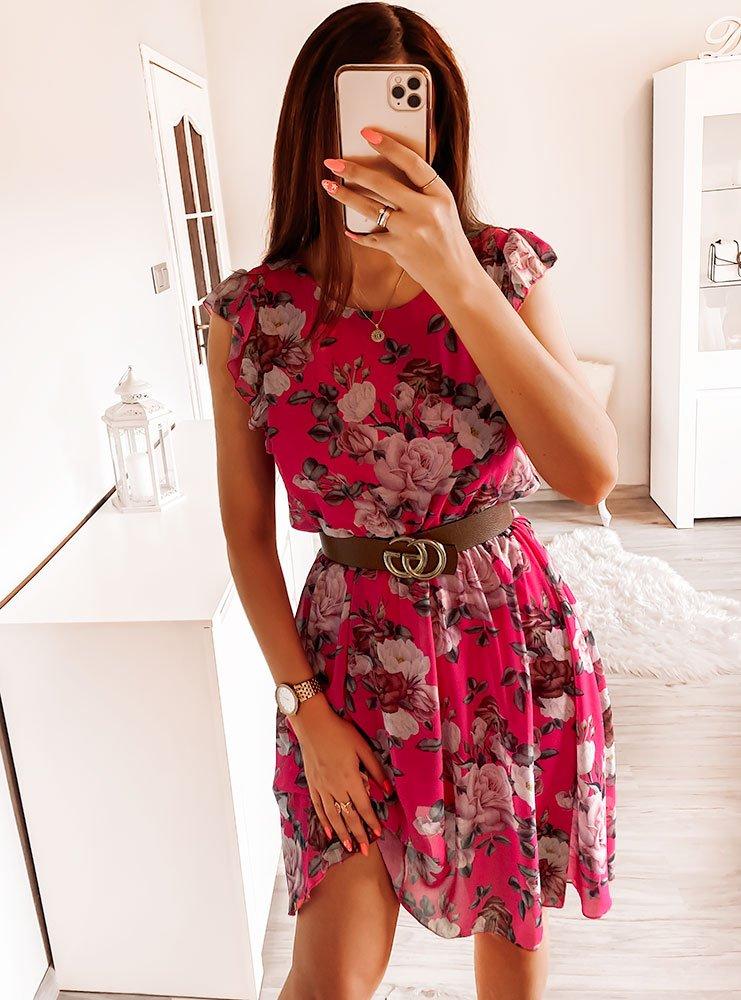 Sukienka w kwiaty Klaudyna - fuksja