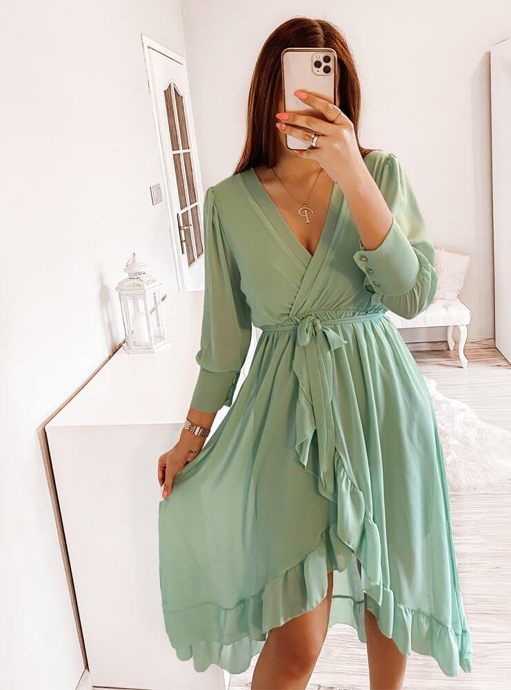 Miętowa sukienka z przekładanym...