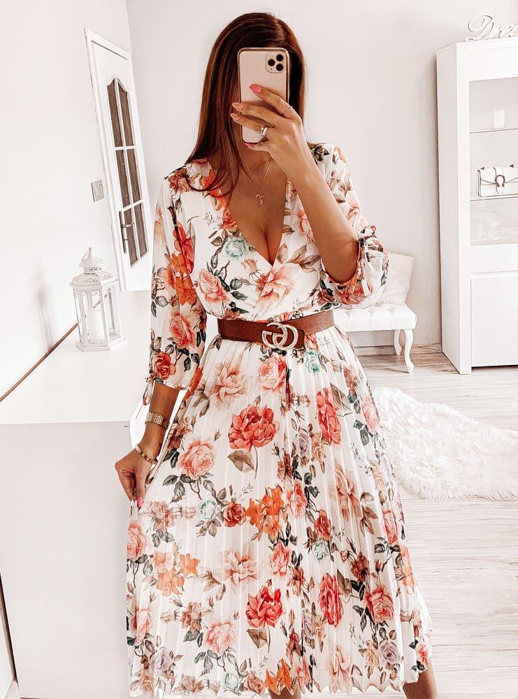 Sukienka plisowana w kwiatki Adare -...