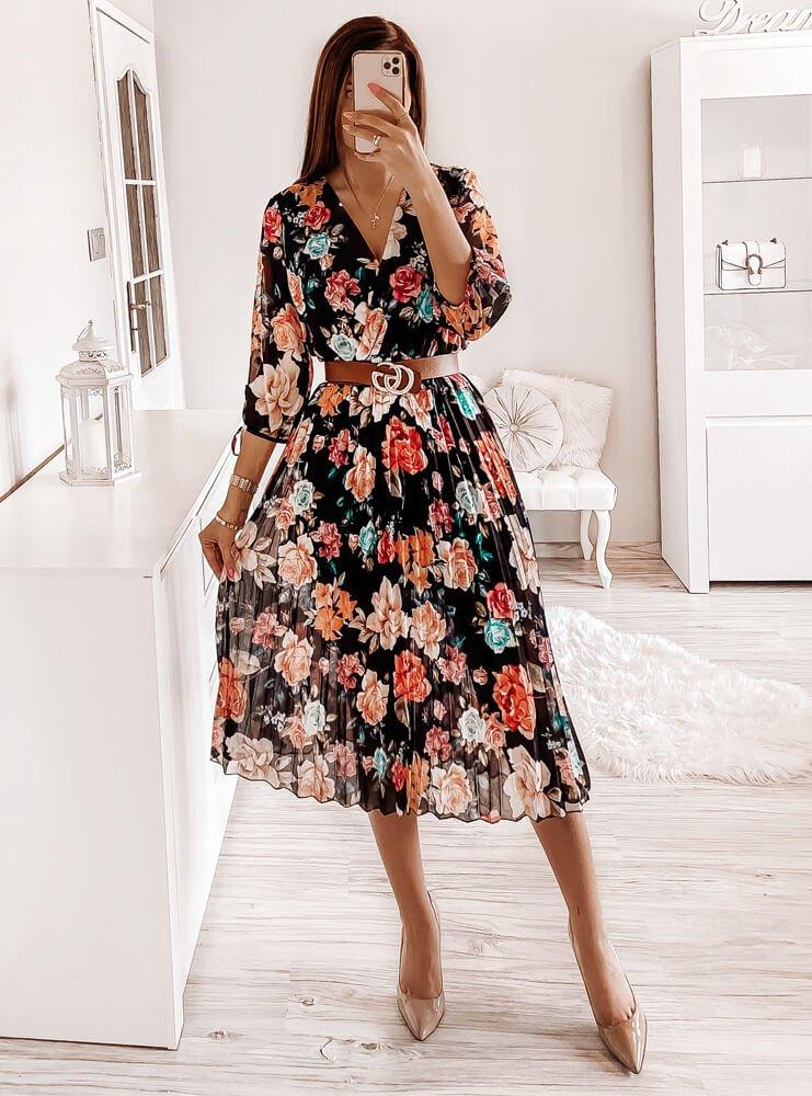 Sukienka plisowana w kwiatki Adare - wzór 4