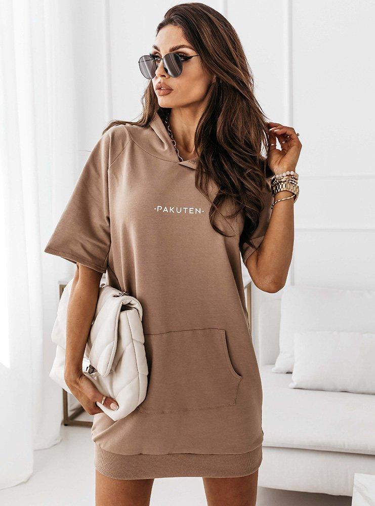 Beżowa dresowa sukienka kangurka Evinett