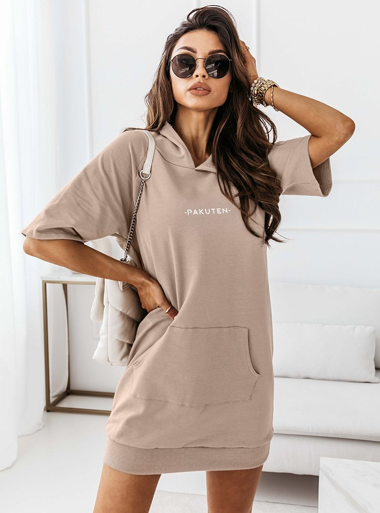 Dresowa sukienka kangurka Evinett - latte