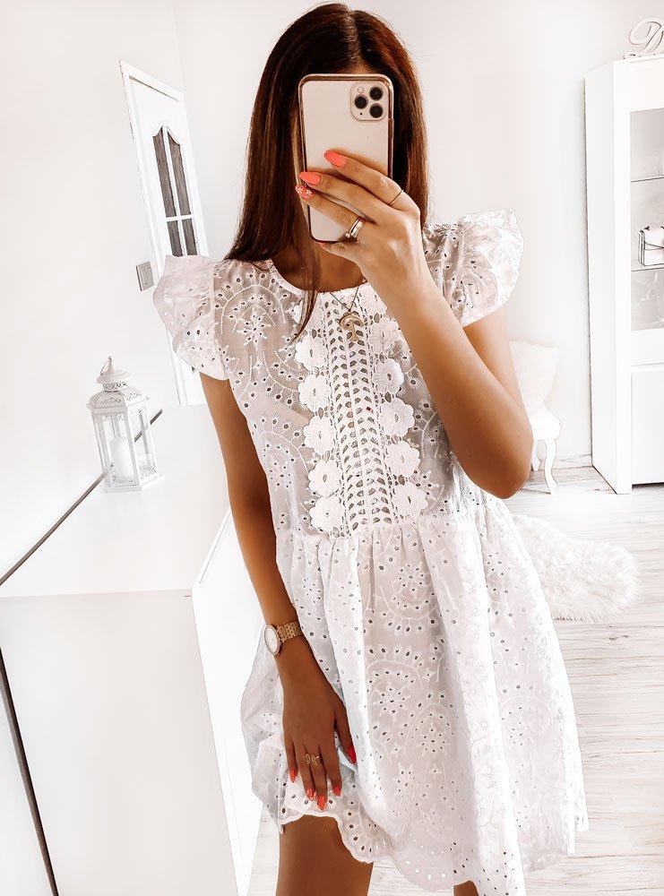 Biała ażurkowa sukienka Vearis
