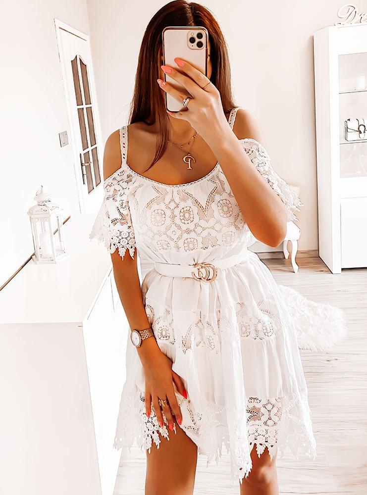 Biała sukienka hiszpanka z koronką Ewika