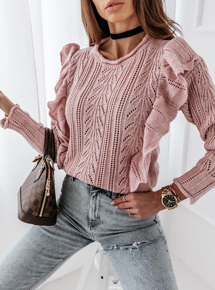 Pudrowy sweterek ażurkowy z falbanami Lonie