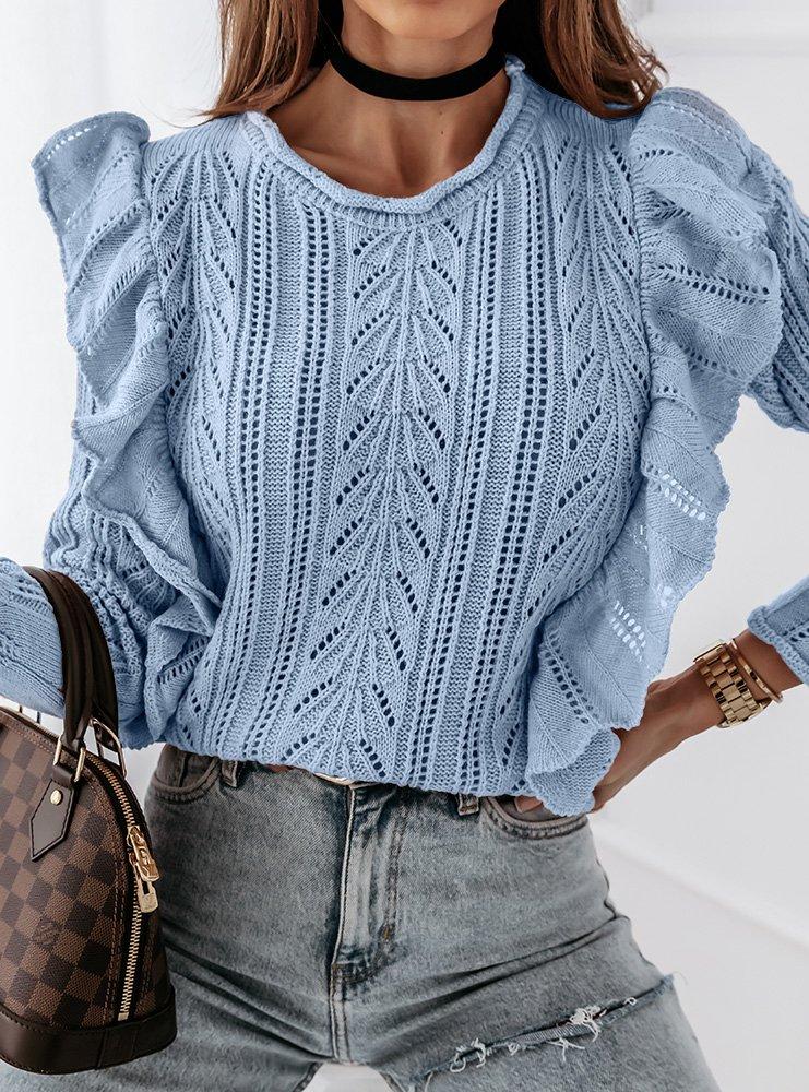 Niebieski sweterek ażurkowy z...