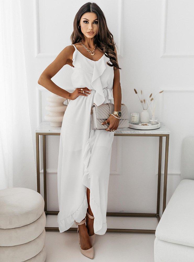 Biała asymetryczna sukienka na...