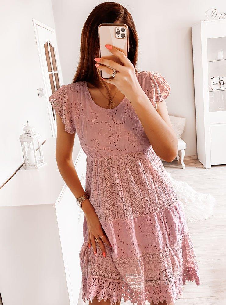 Pudrowa ażurkowa sukienka z koronką...
