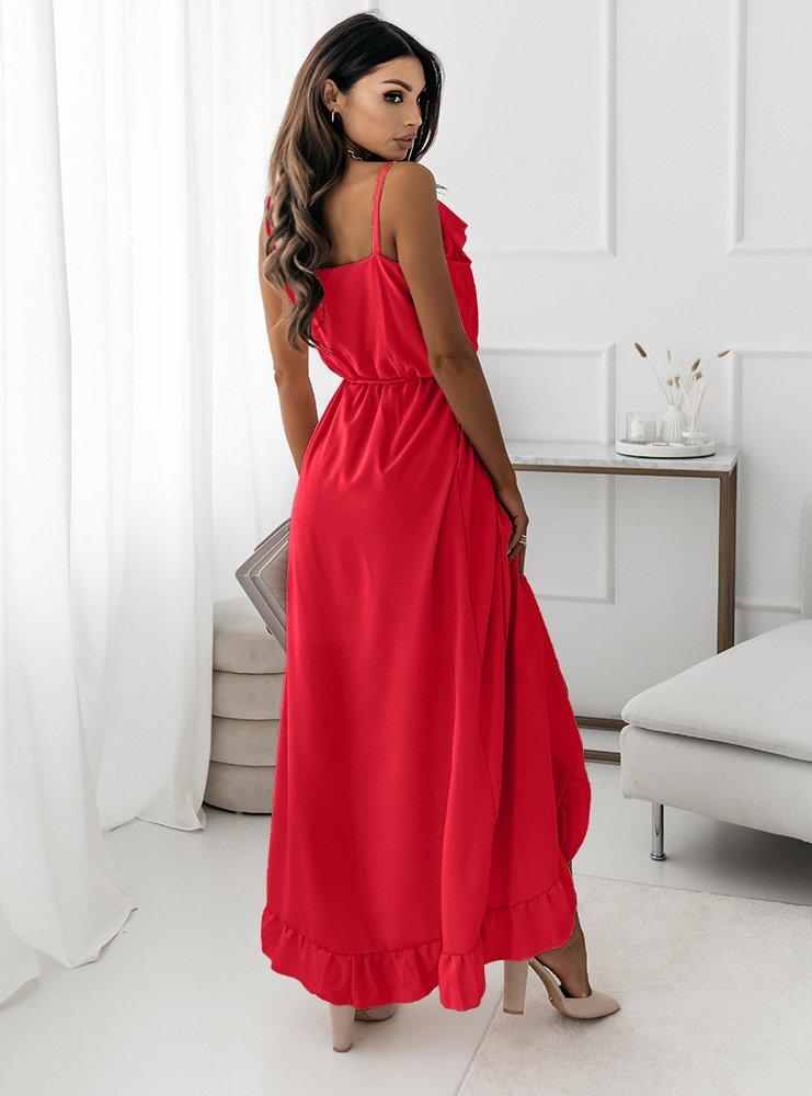 Malinowa asymetryczna sukienka na...