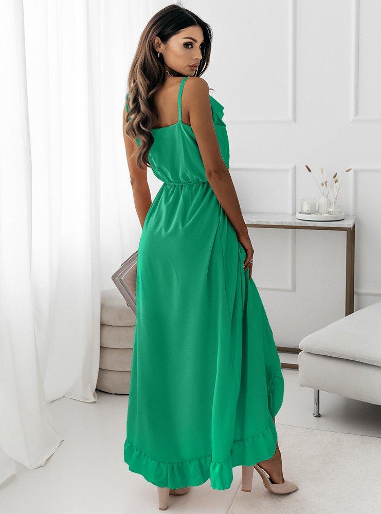 Szmaragdowa asymetryczna sukienka na...