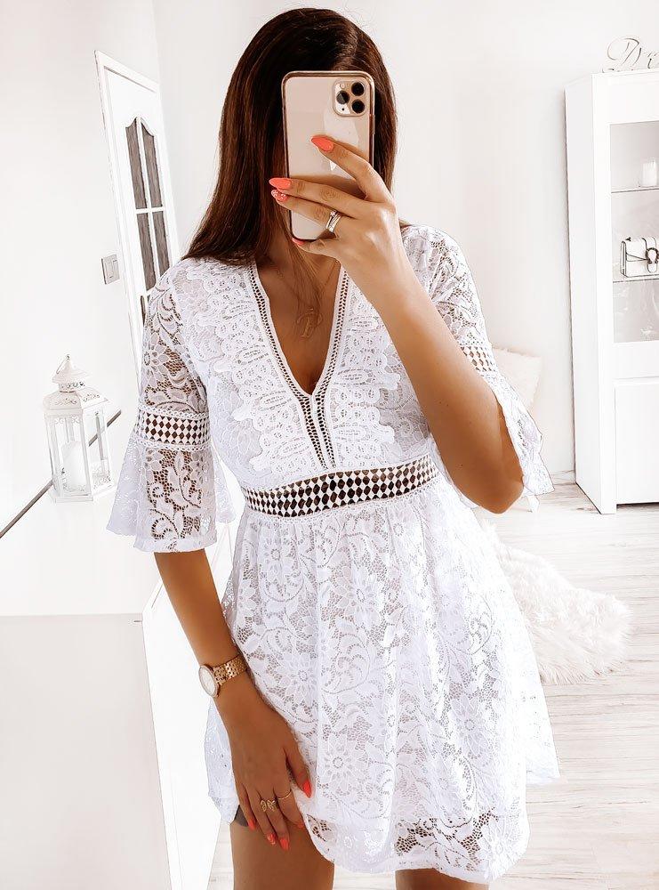 Biała koronkowa sukienka Hebi