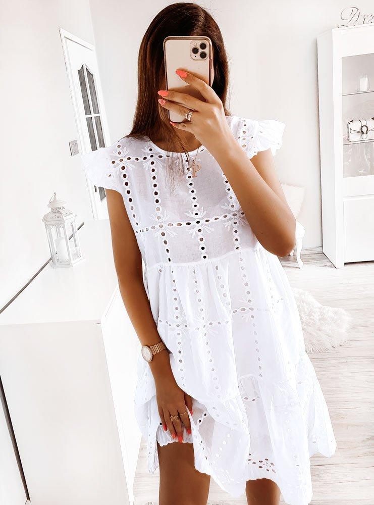 Biała ażurkowa sukienka Trecia