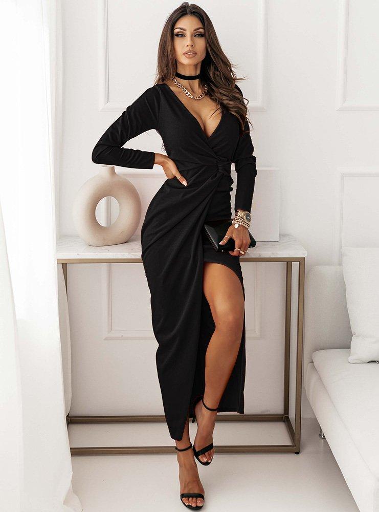 Czarna dopasowana sukienka z...