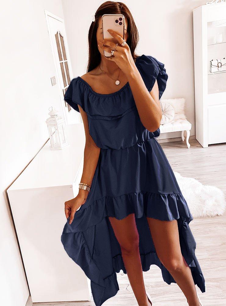 Granatowa asymetryczna sukienka...