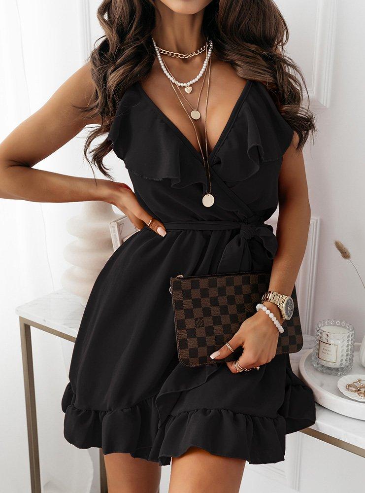 Czarna sukienka z falbaną przy...