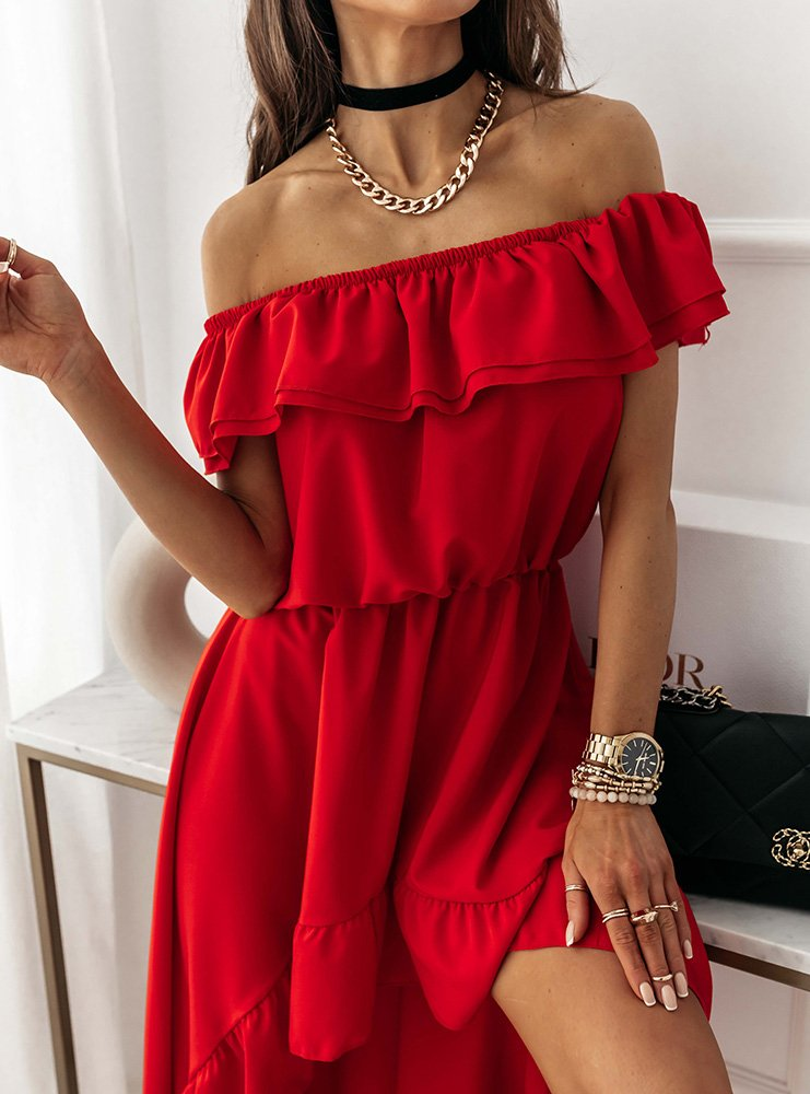 Malinowa asymetryczna sukienka hiszpanka Shelbi