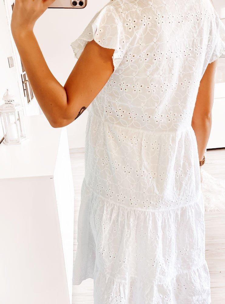 Biała ażurkowa sukienka Giza