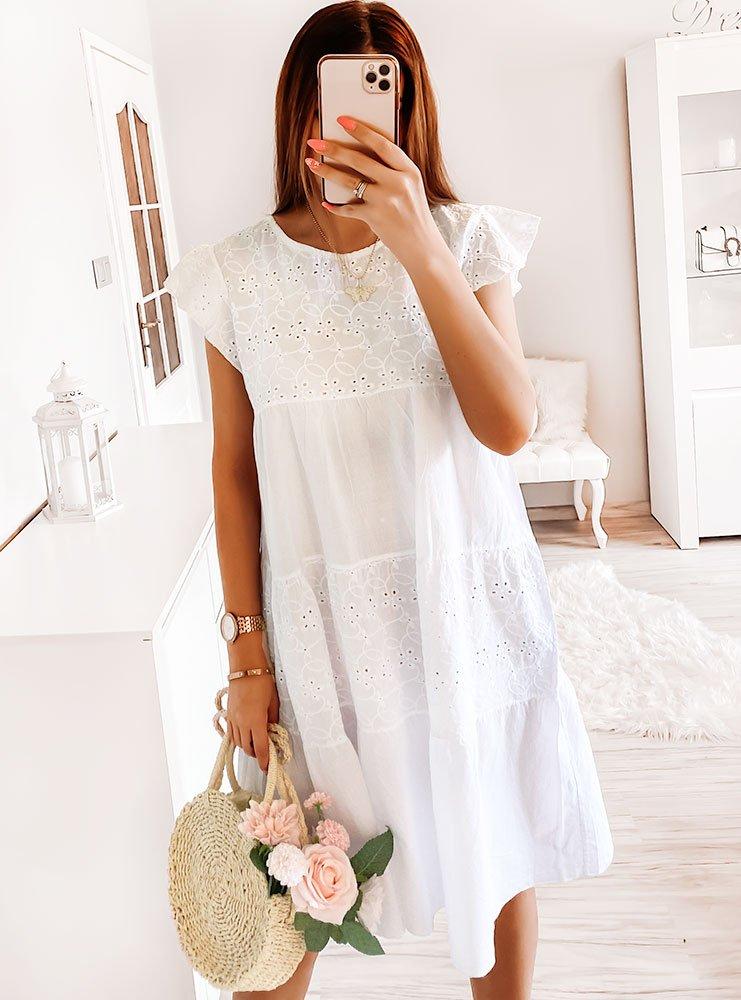 Biała ażurkowa sukienka Patii