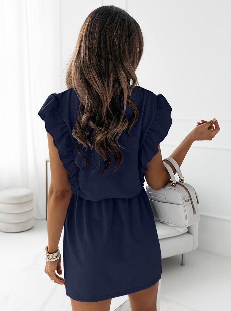 Granatowa sukienka typu szmizjerka Eviee