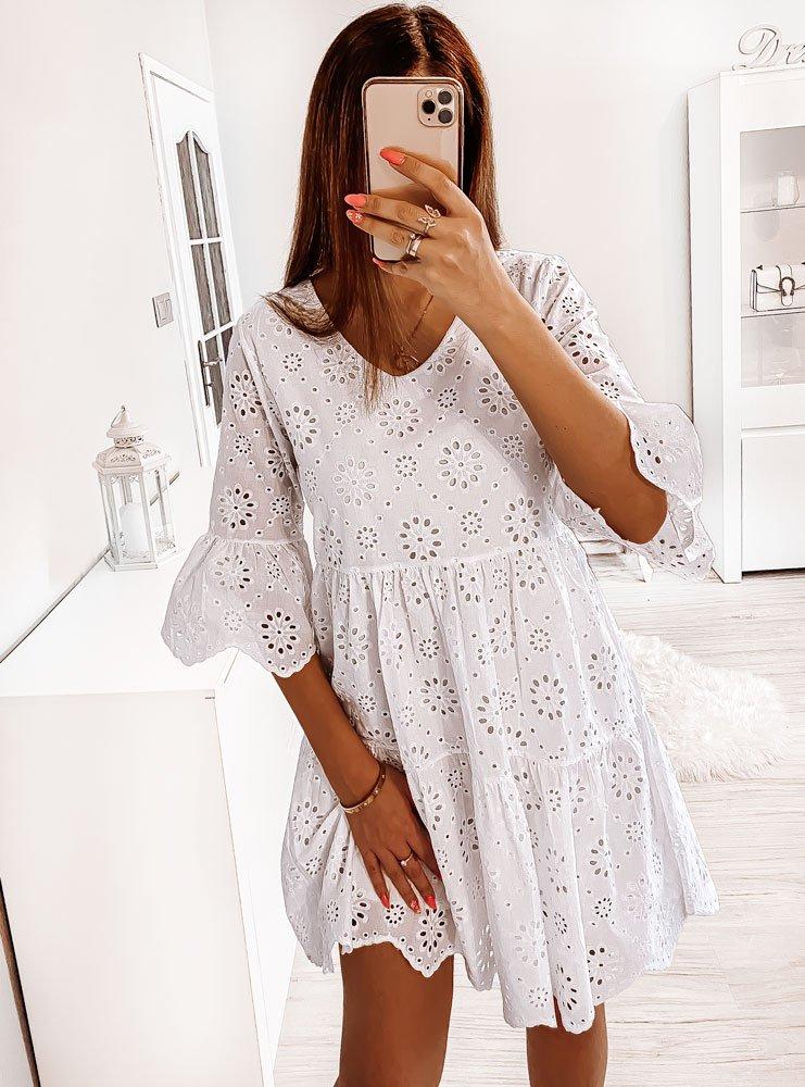 Biała ażurkowa sukienka Rae