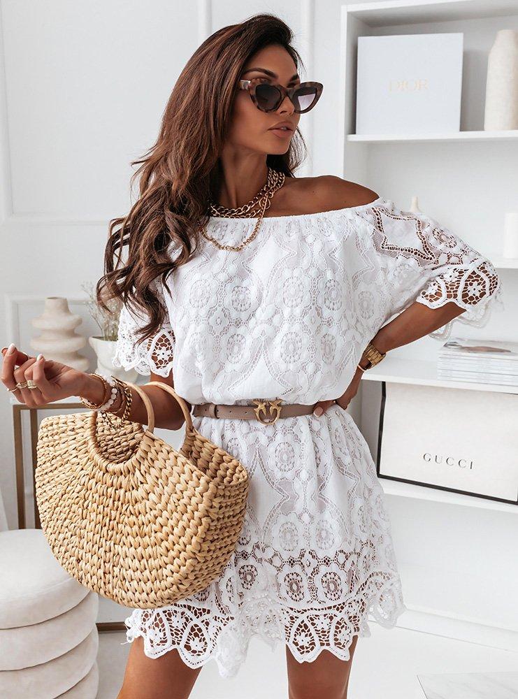 Biała koronkowa sukienka hiszpanka Isabelia