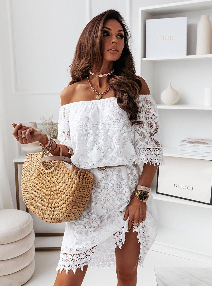 Biała sukienka hiszpanka z koronką...