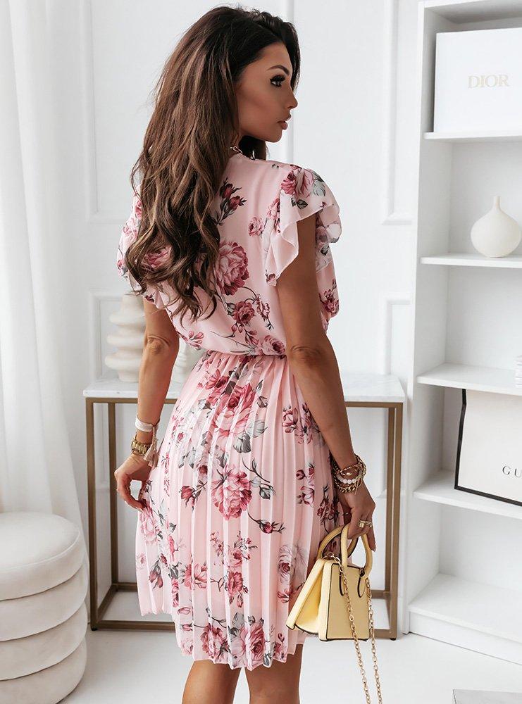 Pudrowa kwiecista sukienka z paskiem...