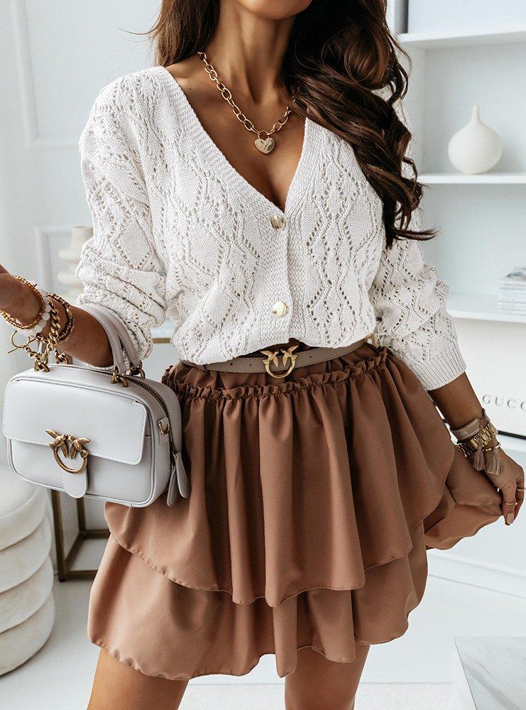 Ażurkowy sweterek na guziki Hellena -...