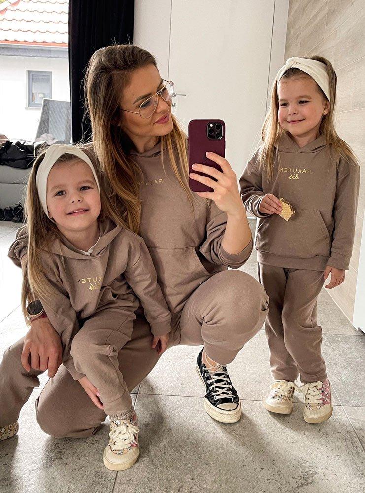 Beżowy zestaw dresów matchy-matchy mama dziecko Cool Kids