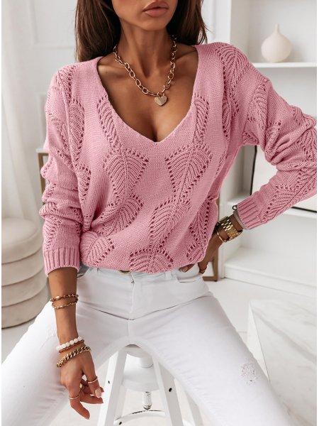 Pudrowy ażurkowy sweterek...