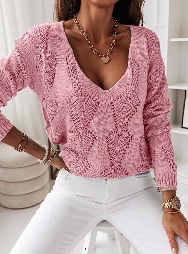 Pudrowy ażurkowy sweterek Kendra