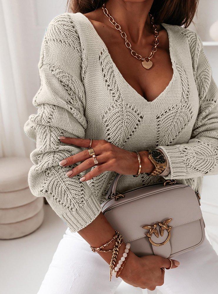 Beżowy ażurkowy sweterek Kendra