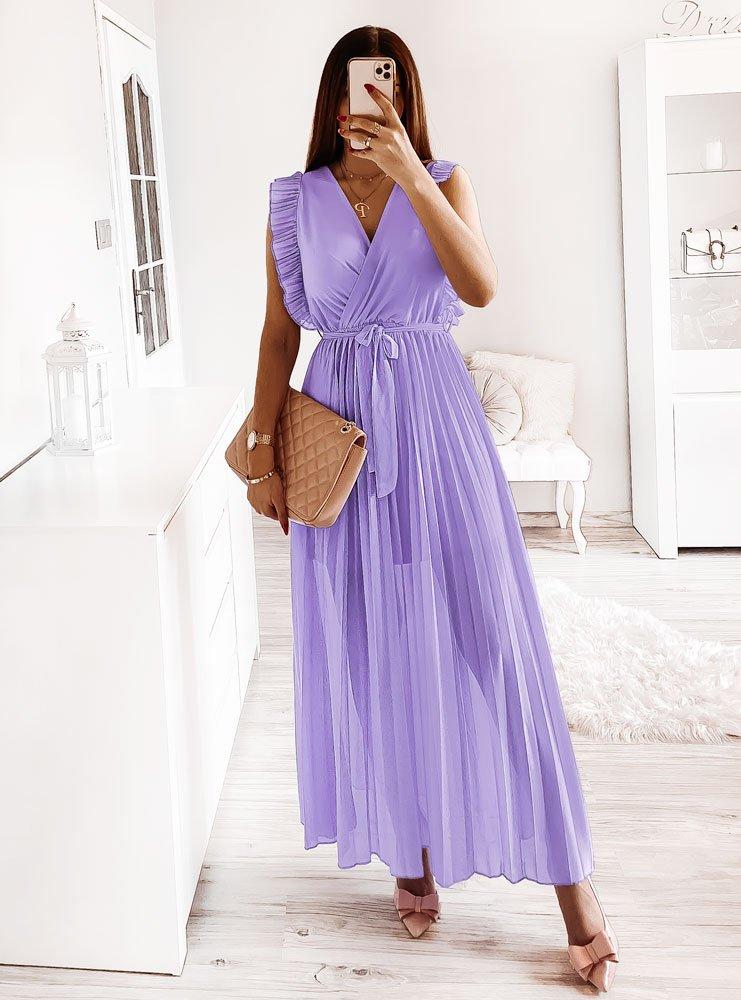 Długa liliowa sukienka z plisowanym dołem Vitty