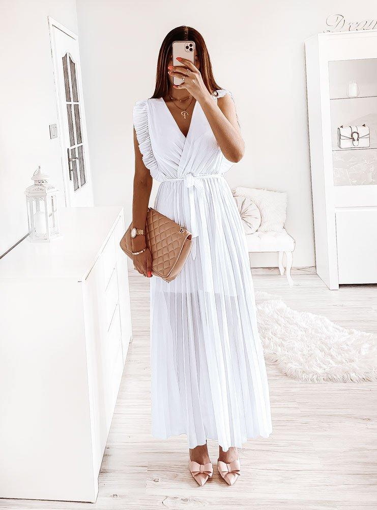 Długa biała sukienka z plisowanym...