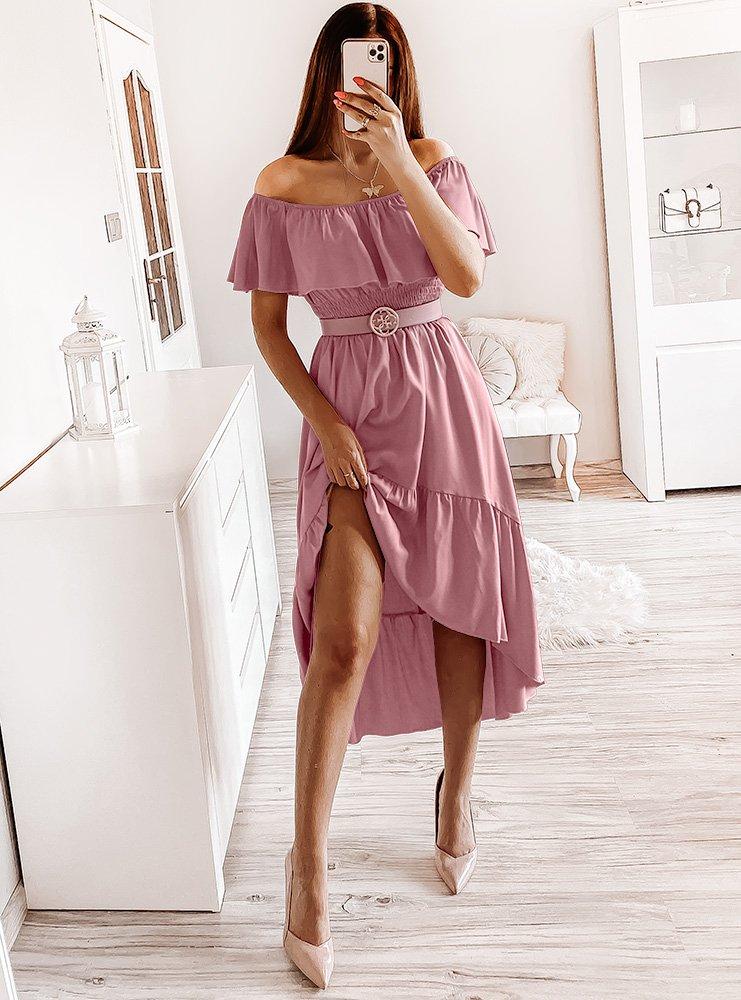 Asymetryczna sukienka hiszpanka Granda - brudny róż