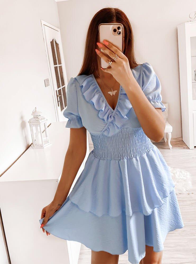 Błękitna sukienka z dekoltem w serek Mericz