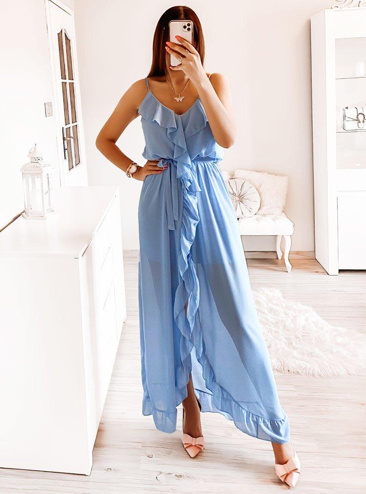 Błękitna asymetryczna sukienka na...