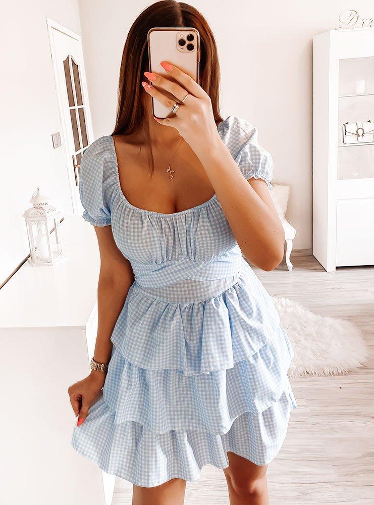 Sukienka w kratkę z falbankami Timbo...